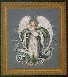 Lavender & Lace Angel of the Sea cross stitch chart punto de cruz Stitch And Angel, Cross Stitch Angels, Cross Stitch Kits, Cross Stitch Charts, Counted Cross Stitch Patterns, Cross Stitch Designs, Cross Stitch Embroidery, Needlework Shops, Cross Stitch Pictures