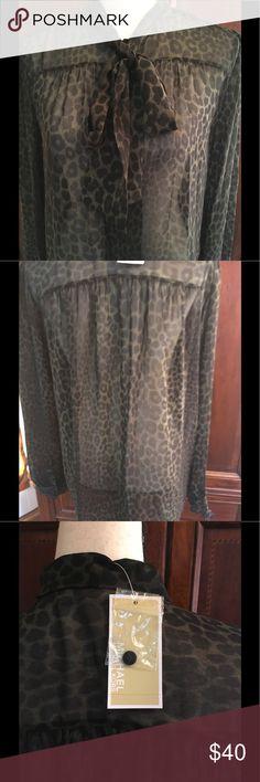 Michael Kors Blouse Dark green animal print silk top. with long sleeve and Ties at Collar Michael Kors Tops Blouses