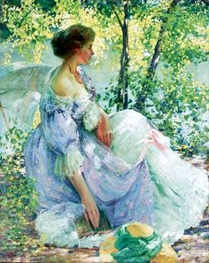 Richard Edward Miller (1875-1943) : In the Garden (signed : 78x61 cm)