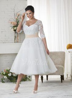 Wedding Dresses - $203.70 - A-Line/Princess V-neck Knee-Length Tulle Lace Wedding Dress With Beading (0025088688)