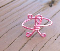 Wire Wrapped Ring Pink Breast Cancer Awareness by KissMeKrafty, $10.00