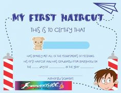 kids first haircut certificate