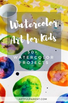 via Artful Parent Lots of watercolor techniques for children including salty watercolors, watercolor resist methods, and printing. Over 60 watercolor projects kids will love! Art Lessons For Kids, Art Activities For Kids, Preschool Art, Projects For Kids, Art For Kids, Art Projects, Arts And Crafts For Children, Watercolor Art Lessons, Kids Watercolor