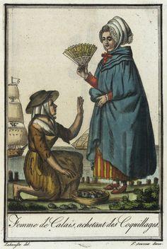 Costumes de Différent Pays, 'Femme de Calais, Achetant des Coquillages' Jacques Grasset de Saint-Sauveur (France, 1757-1810) Labrousse (France, Bordeaux, active late 18th century) France, circa 1797