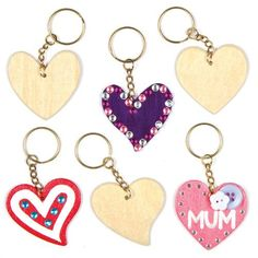 Buy Heart Wooden Keyrings at Baker Ross. Give them the keys to your heart! Wooden keyrings to decorate with our acrylic paint, Deco pens, glitter, stick-ons, etc (not inc Craft Kits For Kids, Craft Activities For Kids, Crafts For Kids, Arts And Crafts, Children Crafts, Craft Ideas, Mothers Day Crafts, Valentine Day Crafts, Valentines