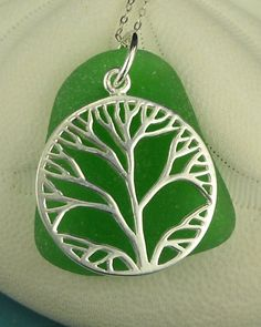 Sterling Silver Tree Of Life Kelly Green Sea by seaglassgems4you,  ...el áRBOL DE LA VIDA