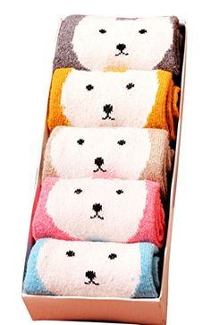 WmcyWell Womens Cute Cartoon Thick Winter Socks Girls Warm SocksPack of 5 One Size Pattern 4 *** For more information, visit image link.