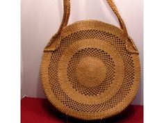 SOLD Unique Large Round Woven Straw Handbag Tote Beach Bag 17 x 17 #Unbranded #BohoChicStraw