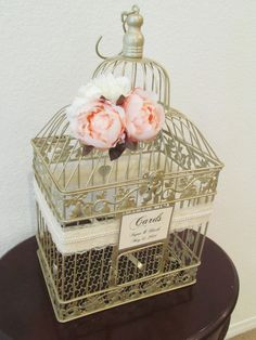 Birdcage Wedding Card Box / Champagne Birdcage with Peonies / Pearls / Bird Cage Wedding Card Holder / Elegant / Gold on Etsy, $68.00