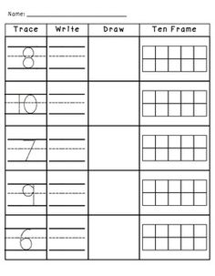 NUMBERS 1-10 TRACE, WRITE, DRAW, AND TEN FRAMES - TeachersPayTeachers.com