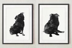 Fawn Pug Drawing, Dog Illustration Gift Idea, Set of 2 Unique Pet's Portrait, Pug Wall Decor Giclee Fine Art Print, Black and White Dog Art