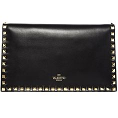 NEW SEASON - Valentino Womens 'Rockstud' Leather Clutch Bag ($1,260) ❤ liked on Polyvore featuring bags, handbags, clutches, purses, bolsas, accessories, black, floral leather handbags, floral print handbags and embossed leather handbags