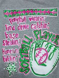 Southern Chics Funny Softball Player Sports Sweet Girlie Bright T Shirt