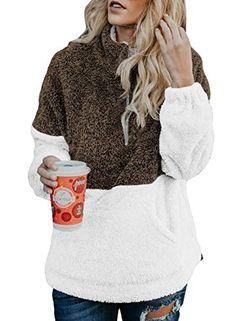 Samefar Women Ladies Long Sleeve High Neck Comfy Fuzzy Quarter Zip Pullover Sweatshirts Tunic with Pockets Gray XL
