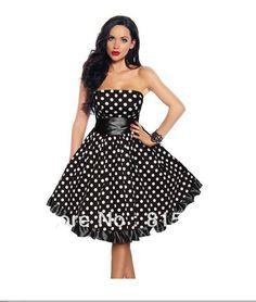 2013 Black White Polka Dot Satin 50's 60's Rockabilly Dress PIN UP Swing DRESS XS S M L XL XXL 3XL 4XL US $49.00