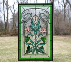 """21"""" x 35"""" Stained glass window panel Lily Flower Beveled Clear Glass SOLD AS IS"""