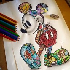 Disney movies in one Art. Got to do a Minnie mouse one