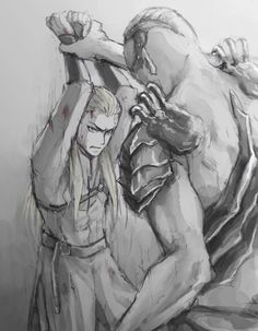 In an alternative universe where something went terribly wrong during Legolas' encounter with Bolg. Noooo my baby's hurt!! But here comes daddy Thranduil to the rescue.(source anyone?)