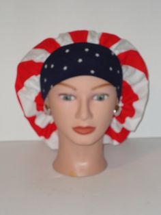 The Perfect Sized Bouffant Scrub Hat...Old Glory w/Navy by TwoSew