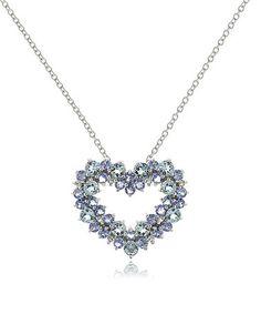 Look what I found on #zulily! Aquamarine & Tanzanite Cluster-Heart Pendant Necklace #zulilyfinds