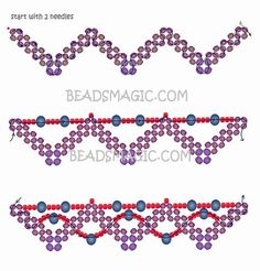 Free pattern for beaded necklace Ebony U need: seed beads faceted beads faceted beads 6 mm round or oval beads about 6 mm Seed Bead Patterns, Beaded Bracelet Patterns, Beading Patterns, Beaded Earrings, Seed Bead Bracelets, Seed Bead Jewelry, Seed Beads, Bugle Beads, Bracelets