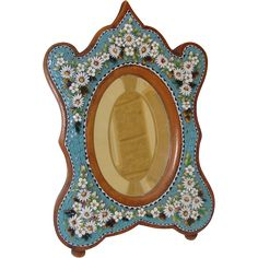 Antique Micro Mosaic mirror with daisies , 19th century