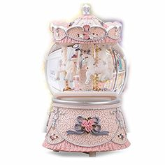 B-Joy Christmas Ornament Snow Globe LED Color Changing Lights Wind up Carousel Music Box Snowflakes (Pink)