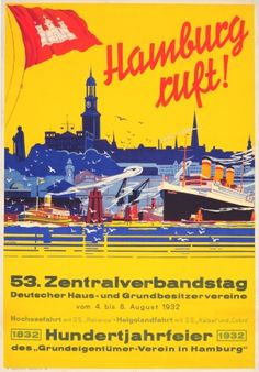 Hamburg Calls, 1932 - original vintage poster listed on AntikBar.co.uk