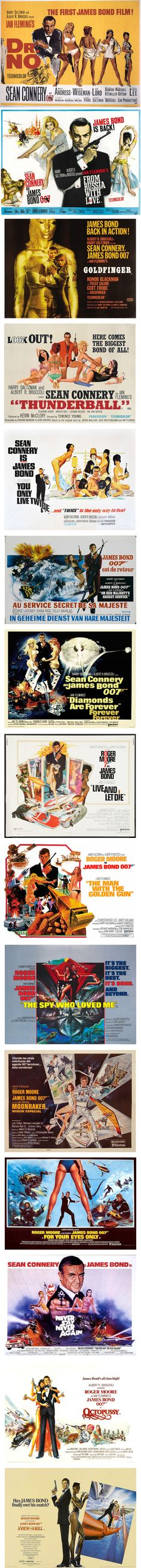 James Bond 007 - Films posters 1962/1985 #Sean Connery #George Lazenby #Roger Moore
