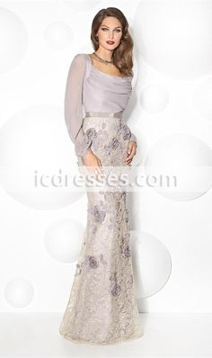 Lace Mother Of The Bride Dresses Long Sleeve Mermaid Mothers Dress Scoop Neck Mother´s Formal Wear Flower Long Evening Gowns