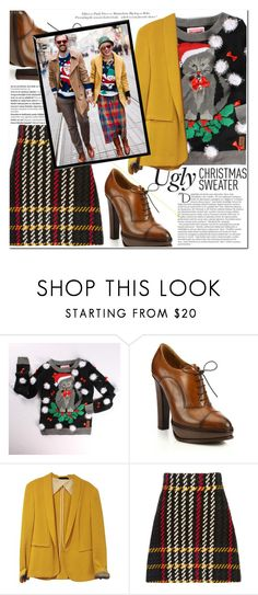 """Ugly Christmas Sweater"" by es-vee ❤ liked on Polyvore featuring Ralph Lauren, rag & bone, Miu Miu, Balmain, Bomedo and H&M"