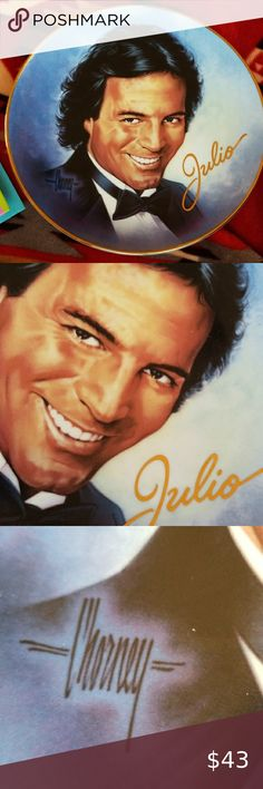 Julio Iglesias Collectible Frankin Daulton Plate Beautiful condition, no issues 💥 Super Sexy Collectibe Plate 👄Julio Iglesias👄   *Royal Doulton  *Fine Bone China The Franklin Mint Heirloom Recommendation  Hard to find  Limited Edition  1996 Anchor Marketing Inc All Rights Reserved  Gorgeous Anywhere Identical to CD cover 1100 Bel Air Place By Chorney w/front signature  Plate # HA1641 Decorative Accessory  *Not for food use Thanks for looking, Happy Poshing Franklin Mint  Royal Doulton 1996 Wa Enrique Iglesias, Franklin Mint, Cd Cover, Royal Doulton, Bel Air, Bone China, Thankful, Sexy, Fashion Tips