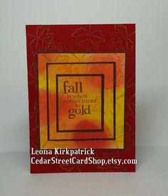 Handmade Red and Gold Seasonal Card by CedarStreetCardShop on Etsy Handmade Greetings, Greeting Cards Handmade, Seasons, Holiday, Red, Etsy, Hand Made Greeting Cards, Vacations, Holidays