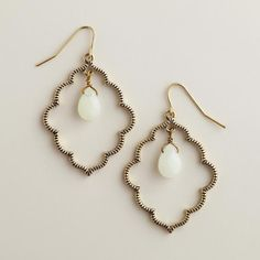 Gold and Mint Scalloped Drop Earrings