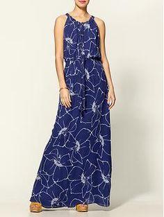 Parker silk tie front maxi dress