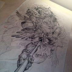 Odin fighting Fenrir (leg) @jamestex photo on Instagram