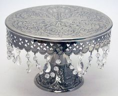 "GiftBay Wedding Cake Stand Round Pedestal Silver finish 14"" with Glass Clear Cry #GiftBayCreations"