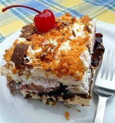Frozen Banana Split Squares #frozen #nobake #dessert #recipe