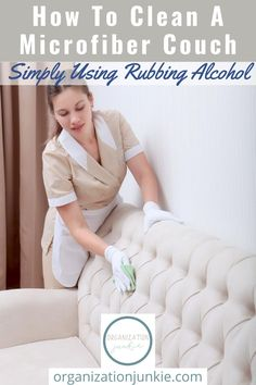 How to clean a microfiber couch like a pro. If your microfiber couch is dirty or stained, you can clean it like a pro in a just a few easy steps! Grab a few simple ingredients and get ready for a clean microfiber couch! #organizationjunkieblog #howtocleanamicrofibercouch Bathroom Cleaning Hacks, Car Cleaning Hacks, Toilet Cleaning, House Cleaning Tips, Microwave Cleaning Hack, Cleaning Microfiber Couch, Clean Bedroom, Homemade Cleaning Products, Organization
