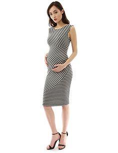a05fc3ea55b0 PattyBoutik Mama Striped Sleeveless Maternity Dress (Dark Blue and Ivory S)