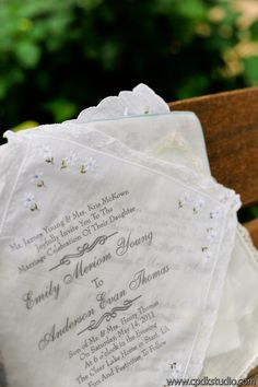 invites printed on hankies :)  Young Wedding  pic by http://www.cpdkstudio.com/  Captured Photography Oxford MS