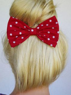 Hair Bow Clip Red Polkadots Gifts for her cute women teens girls cheer big new