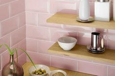 Use our pink wall tiles to create a feature wall or splashback. We have lots of stylish pink designs to choose from in the form of trendy brick shaped metro tiles, as well as shimmering mosaics! Pink Kitchen Walls, Pink And Grey Kitchen, Metro Tiles Kitchen, Kitchen Tiles Design, Kitchen Wall Tiles, Bathroom Floor Tiles, Kitchen Flooring, Kitchen Backsplash, Home Decor Kitchen