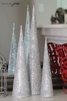 Easy DIY Glitter Cone Christmas Tree craft! www.sincerelyjean.com