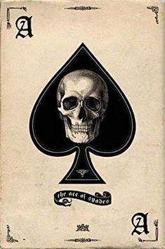 Pyramid America Ace of Spades Retro Art Print Poster Ace Of Spades Tattoo, Retro Kunst, Retro Art, Dark Fantasy Art, Dark Art, Ace Card, Totenkopf Tattoos, Skull Artwork, Skeleton Art