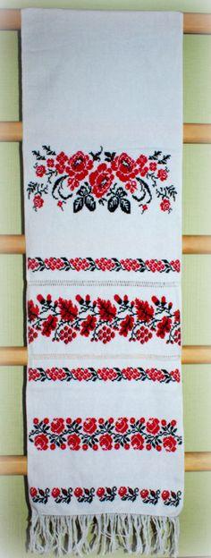 190x35cm Ukrainian Wedding RUSHNYK Hutsul Hand Embroidered Towel Homespun Cloth  #UkrainianHandmade