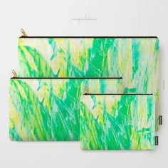 Grassy Abstract in Yellow Green Aqua White Carry-All Pouch by menegasabidussi Canvas Totes, Graphic Prints, Pouches, Aqua, Canvas Prints, T Shirts For Women, Printed, Lifestyle, Abstract