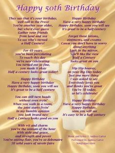 50th Birthday Song For A Woman By Kimberley