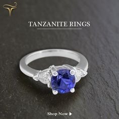 Pick up this new one from a vast collection of beautiful rings! Tanzanite Engagement Ring, Tanzanite Ring, Engagement Jewelry, Beautiful Rings, Sapphire, Anniversary, Stones, Wedding, Collection