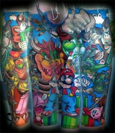 Want some funnys on your sleeve tattoos? try this design Cartoon Sleeve Tattoos Gamer Tattoos, Dope Tattoos, Great Tattoos, Beautiful Tattoos, Tatoos, Color Tattoos, Video Game Tattoos, Tattoo Video, Nintendo Tattoo